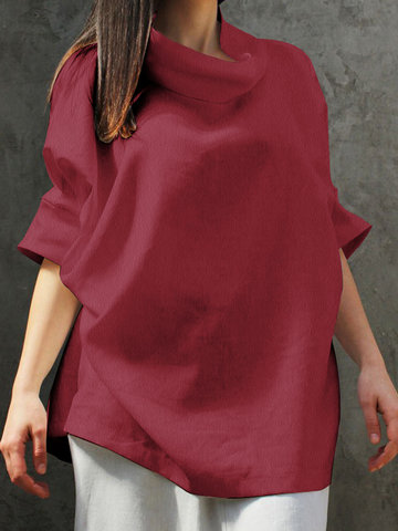 Solid Color Half Sleeve Blouse, Navy wine red