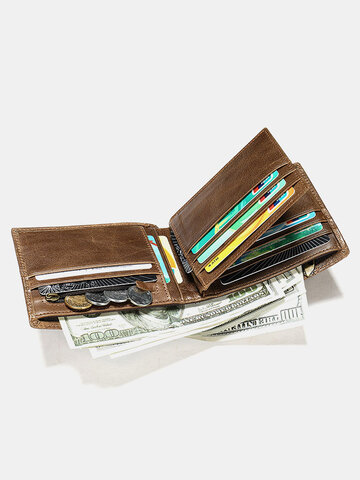 Genuine Leather Anti-theft Multi-slot Retro Coin Purse Foldable Card Holder Wallet