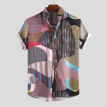 Mens Summer Funny Hit Collar Pinstriped Printed Shirts