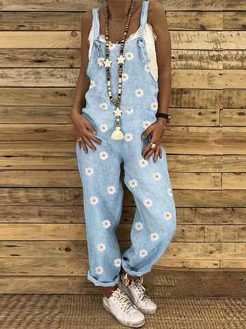 Daisy Print Casual Jumpsuit