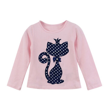 Cute Cat Print Girls T-Shirt For 1-7Y