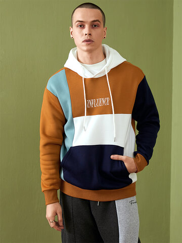 Embroidery Colorblock Stitching Hoodies