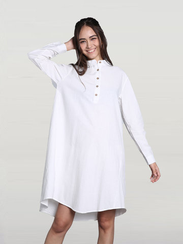 Casual Solid Stand Collar High Low Shirt Dress