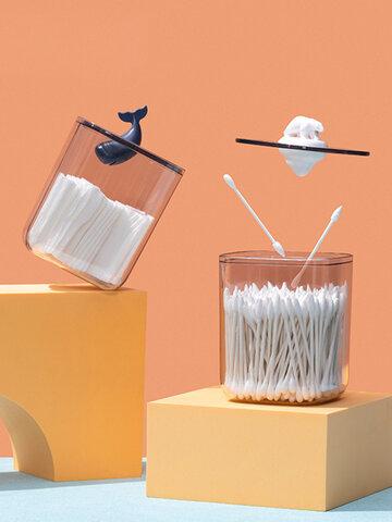 Desktop Storage Box Plastic Transparent With Lid Dustproof Creative Animal Small Debris Snacks Cotton Pad Cotton Swab Box