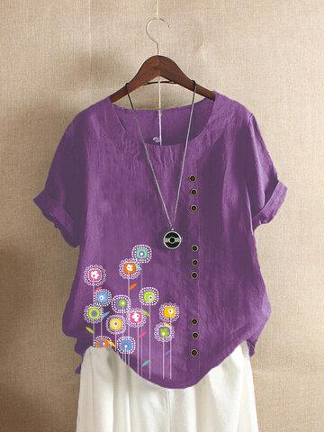 Flowers Print Button T-shirt