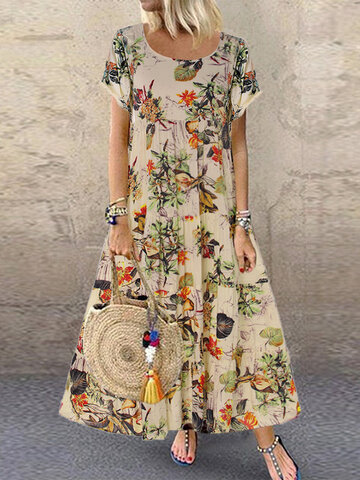 newchic / Vintage Floral Printed Maxi Dress