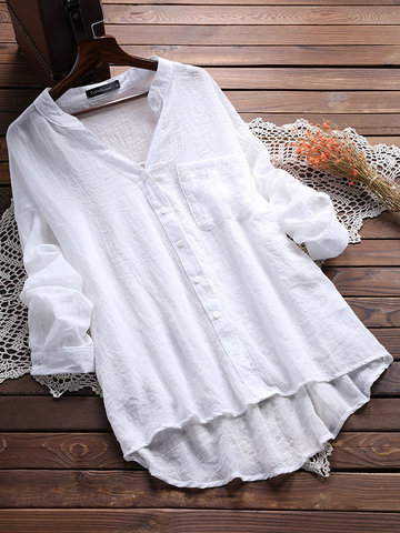 Casual V Neck Pure Color Blouses