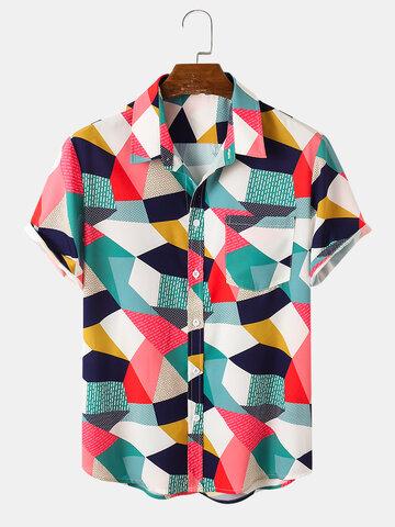 Colorful Colorblock Hawaiian Shirts
