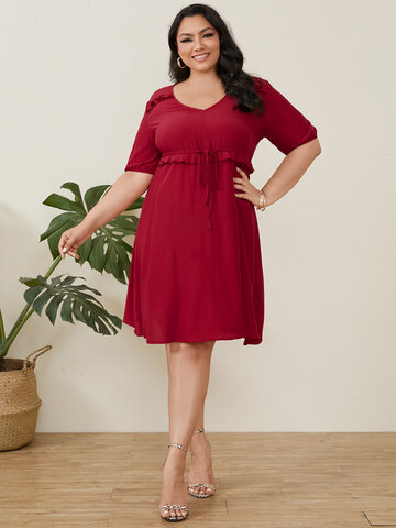 Solid Color Drawstring Casual Dress