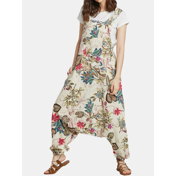 Floral Print Drop-crotch Jumpsuit