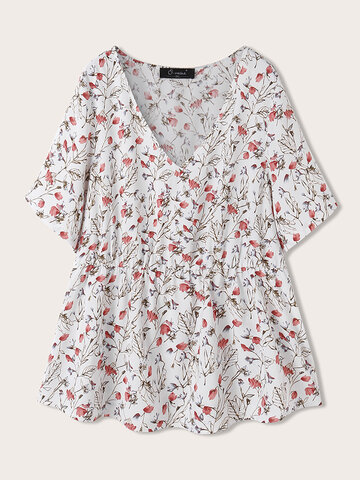 Flowers Print V-neck Casual Blouse