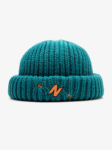 Unisex Knitted Embroidery Skull Cap