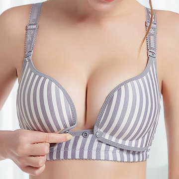 Striped Soft Wireless Nursing Bra
