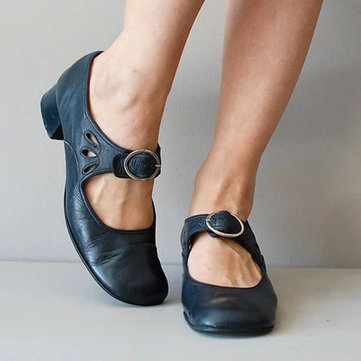 Buckle Blockabsatz Retro Pumps