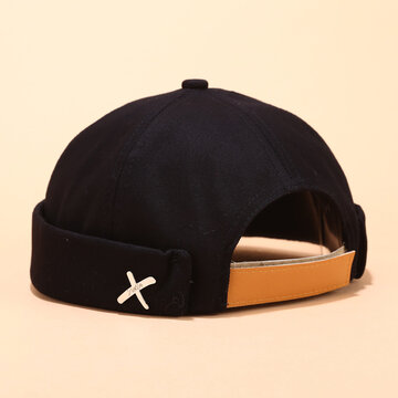 Men & Women Sailor Cap Rolled Cuff Retro Brimless Hats Beanie Hats