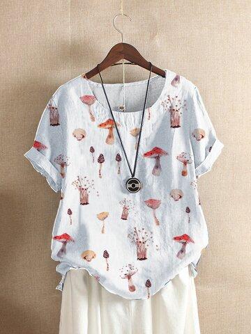 Mushroom Print Loose O-neck T-Shirt