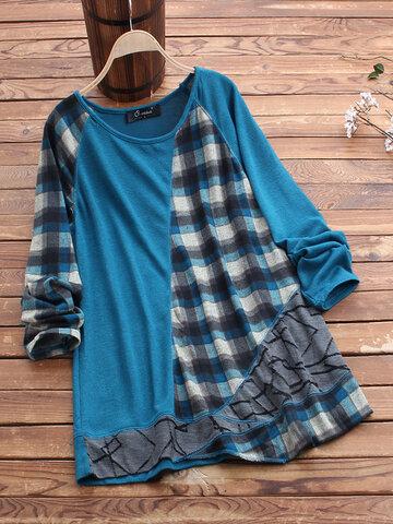 Casual Print Plaid Knit T-shirt