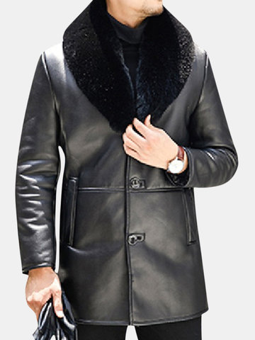 Mens Casual Faux Fur Lining Leather Jackets