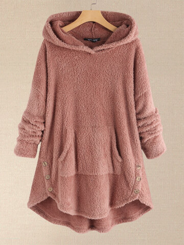 Fleece Asymmetrical Button Hem Plus Size Hoodie