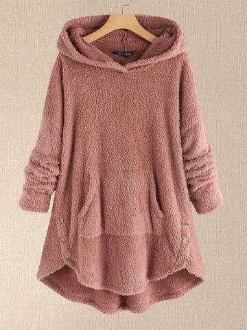 Fleece Asymmetrical Hoodie