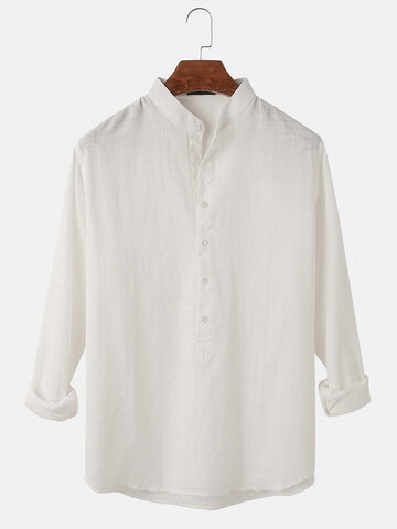 Solid Color Cotton Henley Shirts