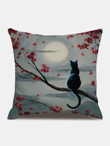 Cat In The Moonlight Pattern Linen Cushion Cover Home Sofa Art Decor Throw Pillowcase