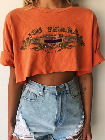 Letter Printed O-Neck Crop Top