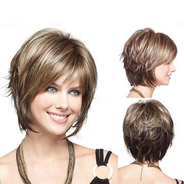 Perücke aus künstlichem Haar mit Highlight ohne Kappe natürlich im modischen Stil