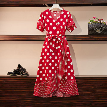 Large Size Women's Fat Mm Loaded French Retro Polka Dot Dress Fat Sister Ageing Waist Waisttail Skirt