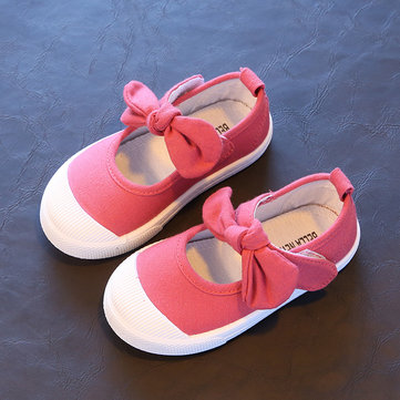 Girls Bowknot Hook Loop Lovely Flats