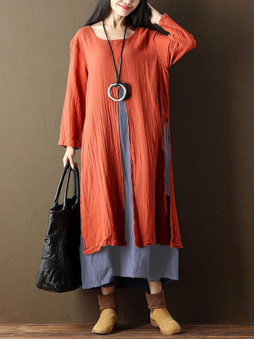 Vintage Two Layers Maxi Dresses
