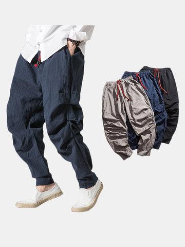 Mens Cotton Linen National Style Loose Harem Pants