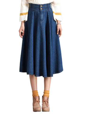 A-Lined Denim Long Skirts