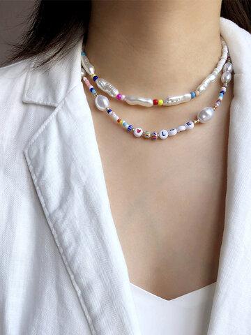 2 Pcs Beaded Necklace Set