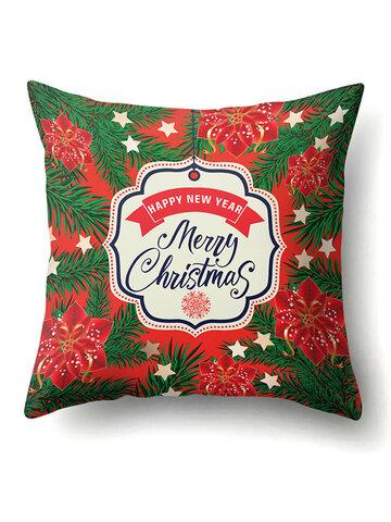 Creative Classical Merry Christmas Printed Throw Pillow Case
