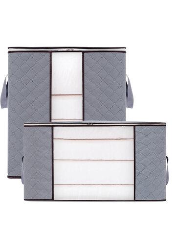 2 Pcs Non-Woven Quilt Storage Bag Household Clothes Quilt Pillow Blanket Storage Bag Transparent Thick Wear-Resistant