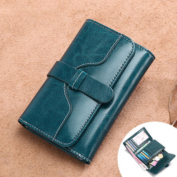 Women Trifold Oil Wax Genuine Leather 8 Card Slot Wallet