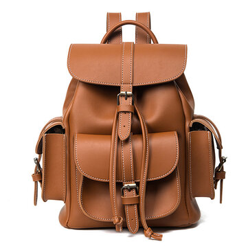 Women PU Leather Draw String Backpack Shoulder Bags