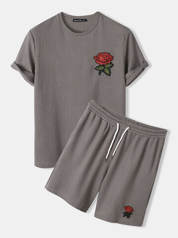 Knitted Rose Embroidery Shirts&Shorts
