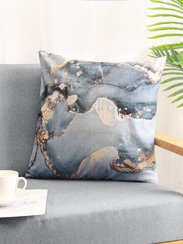 1PC Abstract Marble Stone Pattern Blue Grey Short Plush Pillowcase Throw Pillow Cover Sofa Home Car Cushion Cover