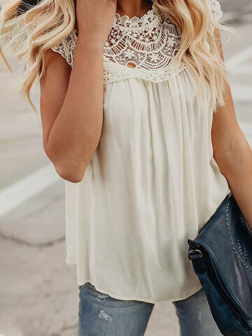 Hollow Lace Patchwork Tank Tops