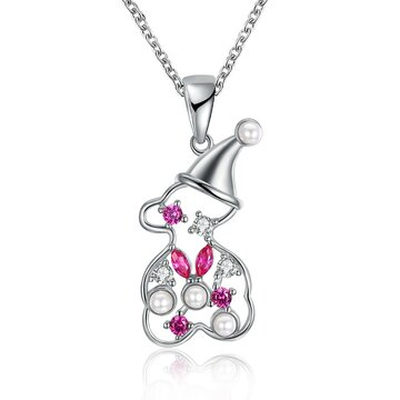 INALIS Hollow Snowman Pendant Zirconia Necklace Fashion Jewelry Christmas Gift for Women Girl