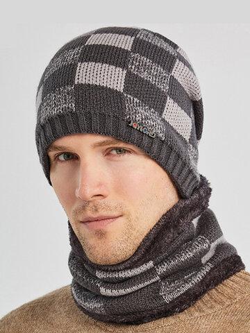 Men 2PCS Plaid Plus Velvet Thick Headgear Scarf Knitted Beanie Hat