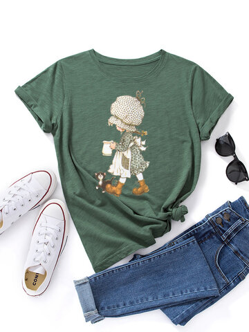 Cartoon Girl With Dog Print T-shirt