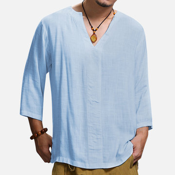 Mens Casual Loose Cotton Linen Long Sleeve T-shirt