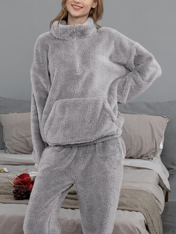 Plush High Neck Zip Front Pajama Set
