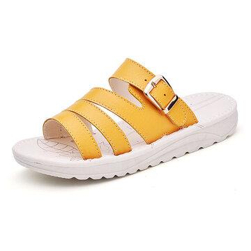 Damen Sandalen aus Rindsleder für Sommer Plateauschuhe flach