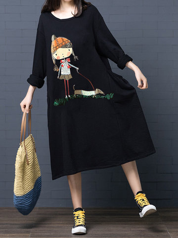 Cartoon Printed Long Sleeve Dress