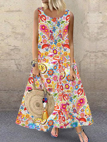 Bohemian Print Sleeveless Dress