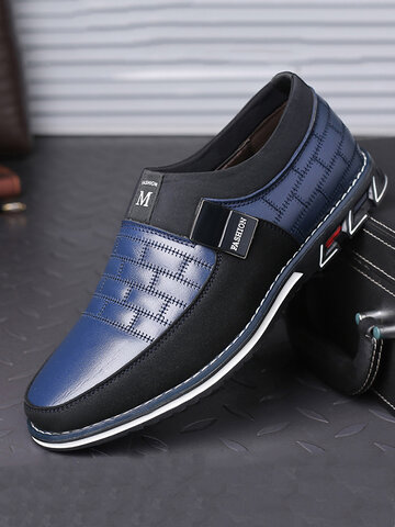 Men Leather Splicing Soft Sole Casual Shoes